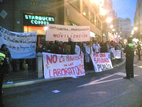 manifestación contra la privatización de la sanidad