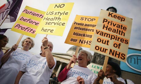 Laying it on the line … NHS workers march to end privatisation. Photograph: Daniel Berehulak/Getty Images